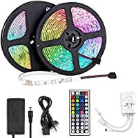 VIPMOON LED Light Strip 10m, LED Strip 32.8ft 300LEDs 5050SMD RGB LED Strip Lights with Remote Control and Power Supply…