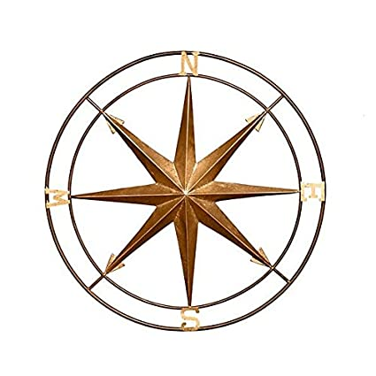 Exceptional Vintage Metal Compass Wall Decor