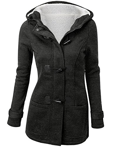 Annystore Womens Winter Wool Blended Hooded Jacket Duffle Toggle Pea Coat Outerwear With Pockets Deep Grey XXL (Lined Plus Size Coat)