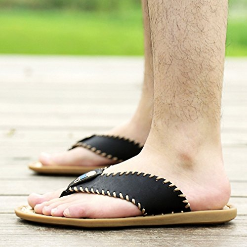 Rubber Heavy Beach Shock U Flops MAC Light Proof Thongs Slippers Black Sole Flip Duty Men's Weight Sandals 76Yw86