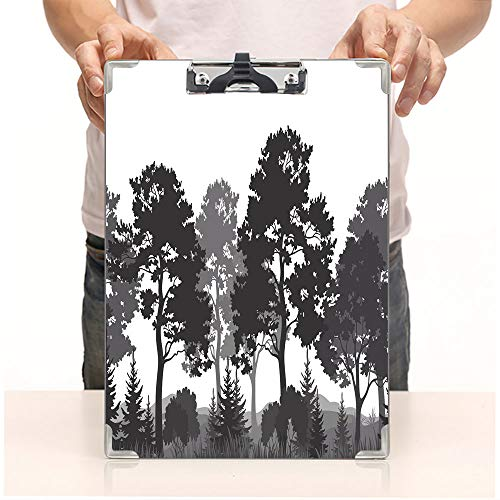 Custom Printing Clipboard,Hardboard Clipboard Pack,Summer Forest Pine and Fir Trees Grass Bush,Office School Workers Business use ()