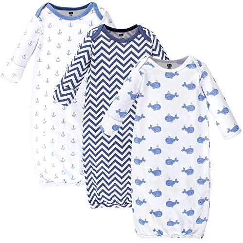 Hudson Baby Unisex Baby Cotton Gowns, Blue Whales, 0-6 Months
