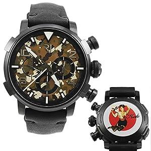 Romain Jerome Pinup DNA Black WWII Kate Fan Chronograph Automatic Men's Watch RJ.P.CH.002.01