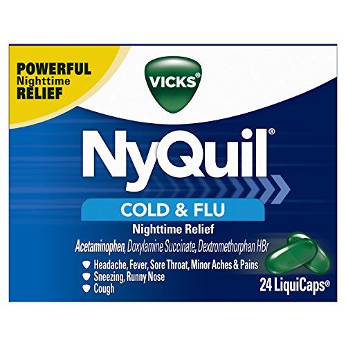 Vicks NyQuil Cough Cold and Flu Nighttime Relief, 24 LiquiCaps (Packaging May Vary)