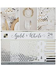 DCWV Card Stock 12\X12\ Gold and White Premium Printed Cardstock Stack