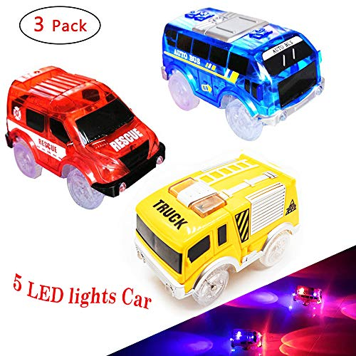 - THREE BEARS Tracks Cars 3 Pack,Light up Replacement Race Car with 5 LED Lights Glow in Dark Compatible with Most Tracks for Boys and Girls