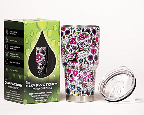 The Cup Factory 18/8 Stainless Steel Hydro Dipped Vacuum Sealed Tumbler with Sliding Splash Proof Lid, 30 oz., Sugar Skulls