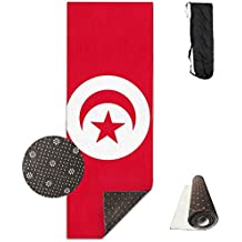 Tunisia Flag Printed Yoga Mat Towel Fashion Non-Slip For Paddle Board Yoga,Yoga And Pilates Sports Exercise 24 X 71 Inches Great Durable Mats