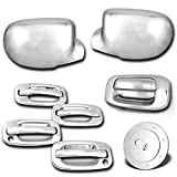 AutoModZone Chrome ABS 4 Door Handle with PSG Keyhole + Tailgate without Keyhole + Full Mirror Cover + Gas Cover Combo for 99-06 Chevy Silverado