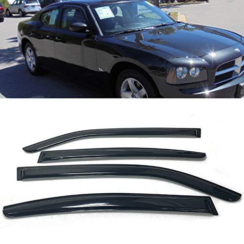 Set of 4Pcs Smoke Window Sun Rain Visor Vent Guard Deflector Shade For 06 07 08 09 10 Dodge Charger