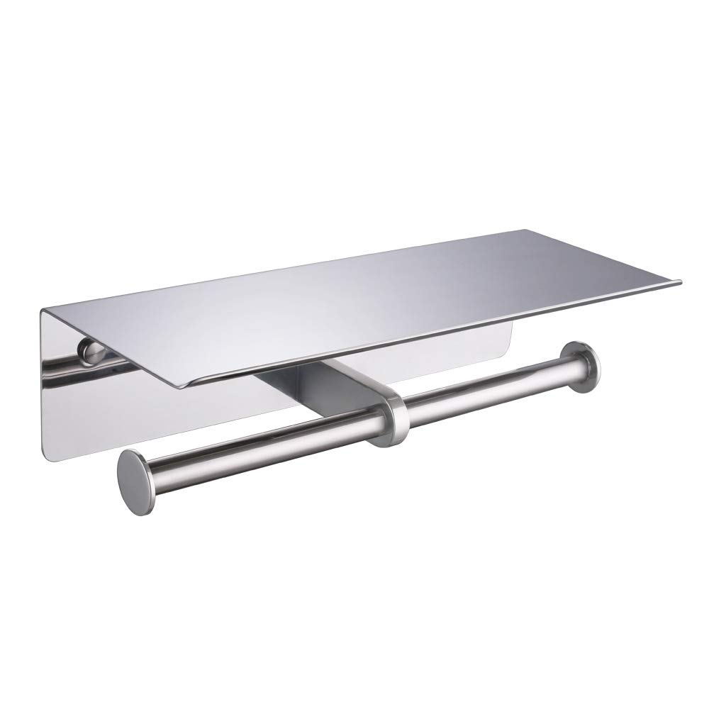 APL Double Toilet Paper Holder, SUS304 Stainless Steel Bathroom Paper Tissue Holder with Mobile Phone Storage Shelf Rack (Polished Chrome)