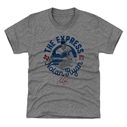 500 LEVEL Texas Baseball Youth Shirt - Kids Large (10-12Y) Tri Gray - Nolan Ryan Circle B (Nolan Ryan Jersey)