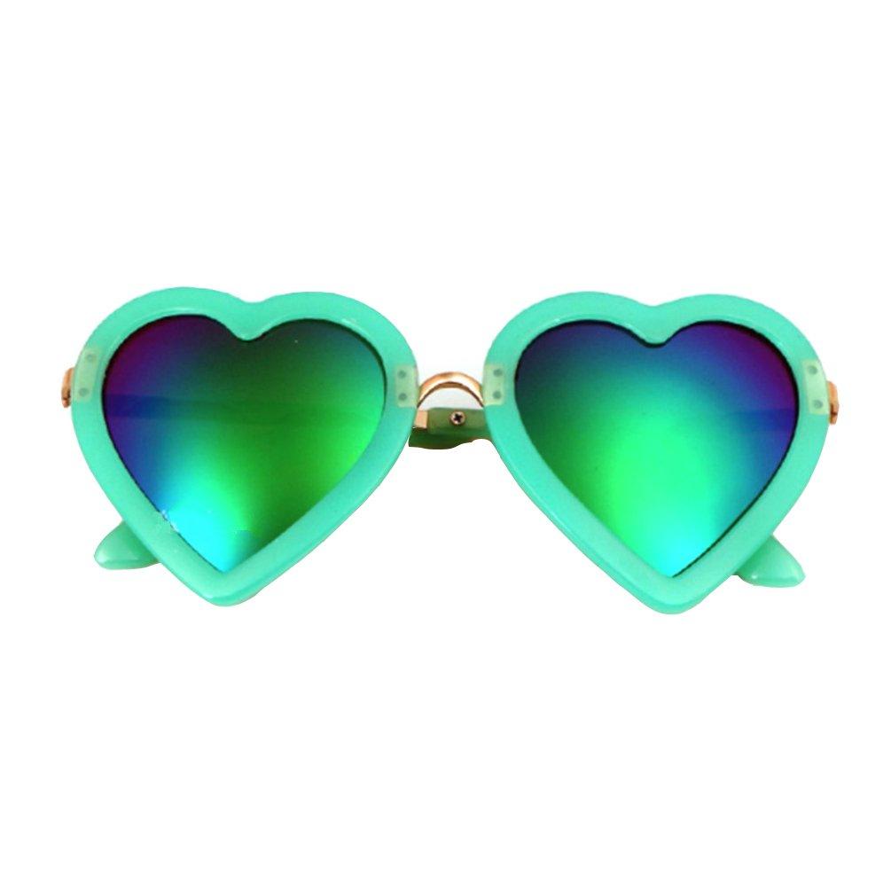 Rainawby Kids Love Heart Shaped Polarized Sunglasses Vintage Retro Style for Toddler Girls Boy Age 3-10 (Green)