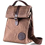 Insulated Waxed Canvas Lunch Bag by Asebbo | Lunch box for women,men with Genuine Leather Handle & STRONG Buckle-Closure to keep your food cool | Lunch tote w/Adjustable Strap (Brown)