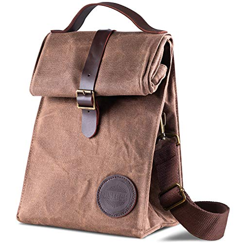 4fe7d757 Insulated Waxed Canvas Lunch Bag by ASEBBO, Lunch Box for Women, Men ...
