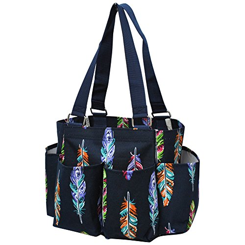 Feather Bag (Feather Navy NGIL Small Zippered Caddy Organizer Tote Bag)