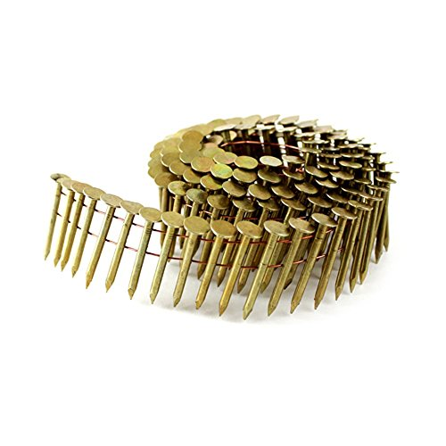 meite 15 Degree Round Head 1-1/4-Inch × .120'' Wire Weld Collated Smooth Shank Electro Galvanized Coil Roofing Nails 2,880 PCS/Pack