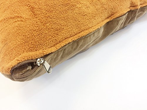 American Comfort Warehouse 36''x29'' Medium Size Removable Zippered Luxurious Soft Fleece Sudan Brown/Brown Suede Cover Case for Small to Medium Dogs - External Cover Only by American Comfort Warehouse