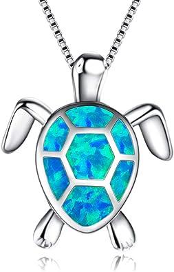 BlinkingSoul Women 925 Sterling Silver Blue Starfish Pendant Necklace for Girls
