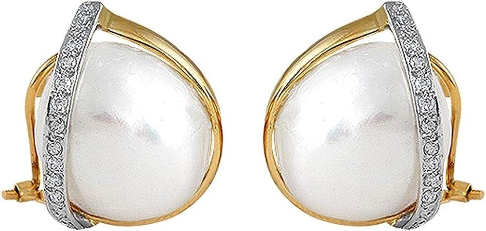 Pendientes bicolor 18k colección Martina perlas 14mm. banda diamantes brillantes 0.10ct cierre omega
