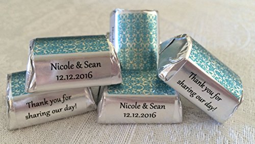 300 SKY BLUE DAMASK SILVER FOIL Themed Wedding Candy wrappers/stickers/labels for HERSHEY NUGGET CHOCOLATES (Personalized ()