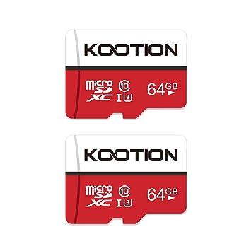 Kootion Tarjeta Micro SD 64GB Clase 10 Tarjeta de Memoria SDXC(U1 y A1) TF Card Alta Velocidad de Lectura hasta 100 MB/s, para Móvil, Cámara ...