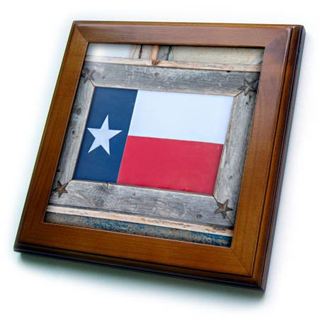 3dRose Danita Delimont - flags - Texas state flag art, Wimberley, Texas, Usa, Editorial Use Only - 8x8 Framed Tile (ft_260110_1)