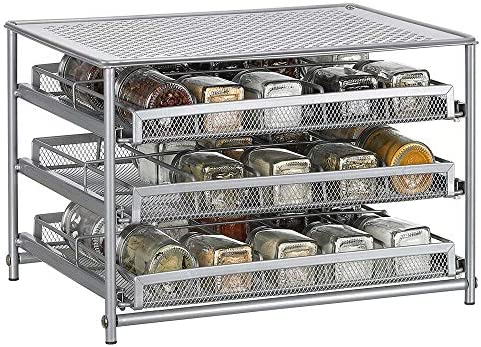 NEX Spice Rack 3 Tier 30-Bottle Spice Drawer Organizer for Pantry Kitchen Cabinet, Metal