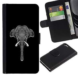 TORNADOCOVER Diseño Trasera Imagen Cuero Voltear Tarjeta Ranura Duro Funda Negro Borde Carcasa Case Cover Skin para Smartphone Apple Iphone 5 5S - gráfico arte del elefante tinta blanca negro