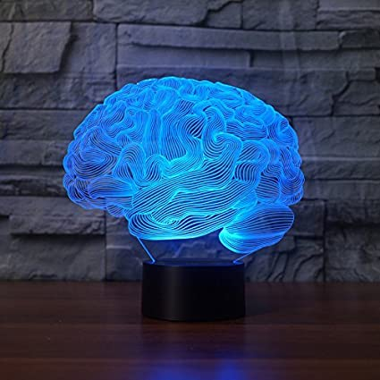 Lampada 3D EONANT 3D Night Lights Touch USB LED con 7 Colori di Illusione Ottica di Luci Scrivania per Bambini in Camera Decorazione Domestica Brain