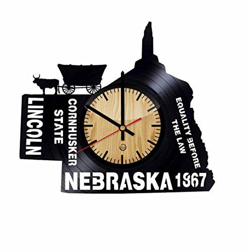 Nebraska Record Wall Clock - Get unique of living room wall decor - Gift ideas for girls and boys - Cornhusker State Unique Art Design