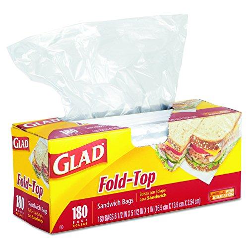 Glad 60771 Fold-Top Sandwich Bags, 6 1/2 x 5 1/2, Clear, 180 per Box