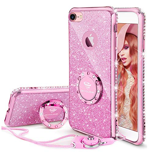 OCYCLONE iPhone 8 Case, iPhone 7 Case for Girl Women, Glitter Cute Girly Diamond Rhinestone Bumper with Ring Kickstand Protective Phone Case for iPhone 8 / iPhone 7 - Sakura Pink