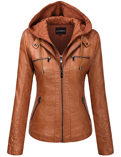 Tanming Women's Womens Hooded Faux Leather Jackets (Medium, Brown)