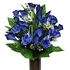 Blue Rose and Calla Lily Mix Artificial Bouquet, featuring the Stay-In-The-Vase Design(c) Flower Holder (MD1264) 9