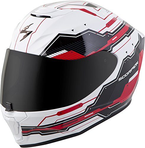 (Scorpion EXO-R420 Helmet - Techno (Large) (White/RED))