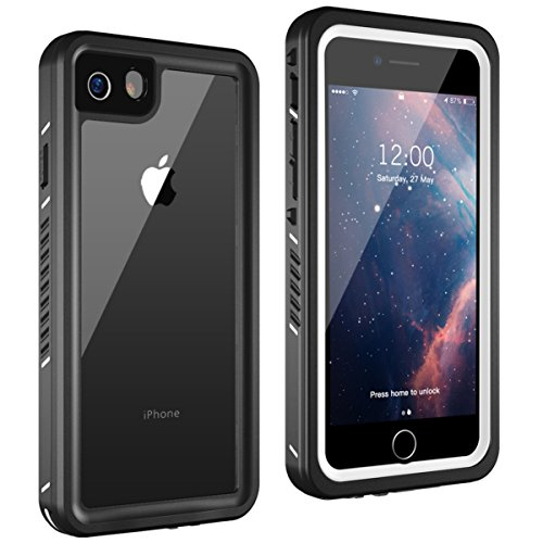 iPhone 8/ iPhone 7 Waterproof Case, Lanwow Wireless Charging Support iPhone 8/7 Underwater Shockproof Case Anti-Cracking with Built-in Screen Protector Rugged Waterproof Case - Black/White(4.7 inch)