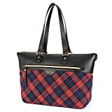 Ladies Laptop Tote Bag 15.6 Inch,Stylish Checkered Multi-Pocket Travel Business Casual Shopping Shoulder Bag Carrying Briefcase Handbag for Women 13 14 15' Laptop Notebook MacBook Computer,Red