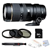 Tamron SP 70-200mm F2.8 Di VC USD Telephoto Zoom Lens for Canon (Model A009E) - International Version (No Warranty) + High Quality 3 Piece Filter Kit (UV-CPL-FLD) + 64GB SD Memory & Lens Cleaning Pen + Bonus Fumfie Powerbank Keychain