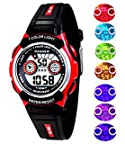 Waterproof Swimming Sports 7-Color Flashing Light Watches for Boys, Girls, Childrens Kids Age 4-12 (red)