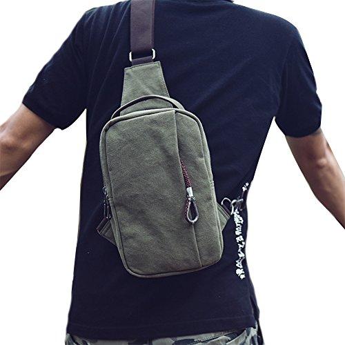 Genda 2Archer Bolsa de Lona de los Hombres en el Pecho Hombro, Bolsa de Deporte (negro-azul) verde
