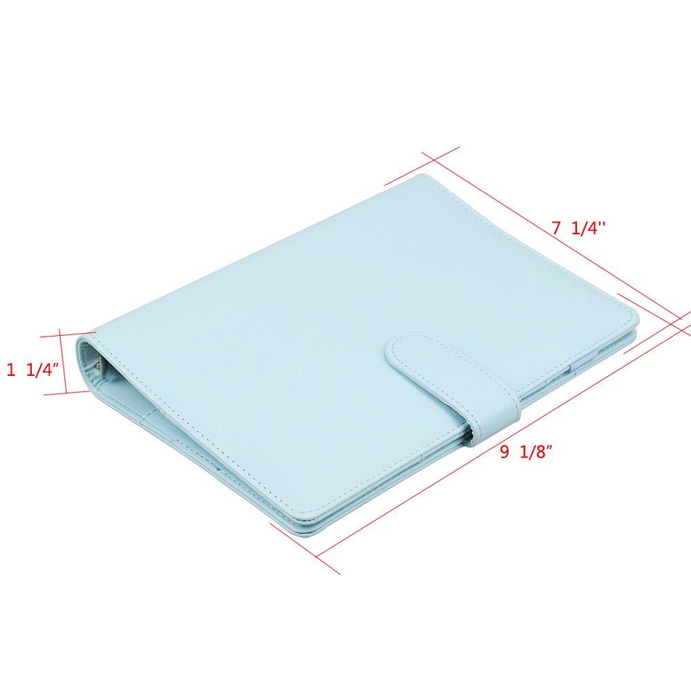 Cuaderno de piel sintética A6, rellenable, 6 anillas, redondo, para papel de relleno, funda para agenda de viaje,funda para diario con hebilla ...