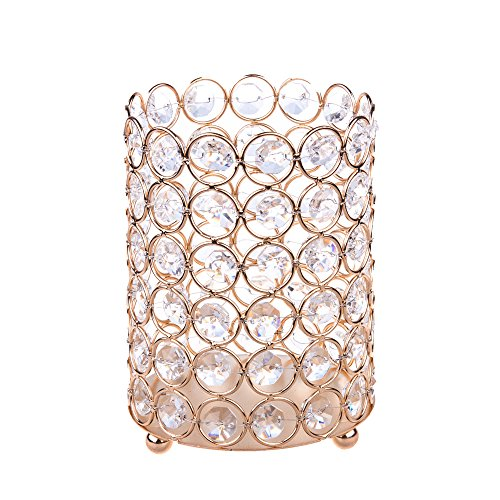 Feyarl Sparkly Crystal Makeup Brush Holder Artificial Flower Organizer Pen Holder Stand Cup Box Candle Holder Votive Cylinder Candle Lantern for Wedding Home Office Deco (Gold) ()