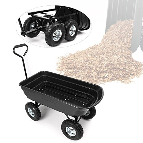 Timmart 650LB Heavy Duty Garden Dump Cart Wheel Barrow Wagon Carrier, Air Tires, Black (Plastic Wheel Wagon)
