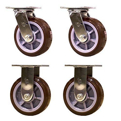 Service Caster SCC-30CS620-PPUR-2-R620-2 Heavy Duty Casters Polyurethane Wheel, Swivel and Rigid Non-Marking, 6