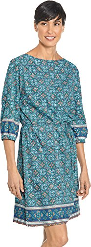 - Coolibar UPF 50+ Women's Garden Party Dress - Sun Protective (Small- Blue Spanish Mosaic)