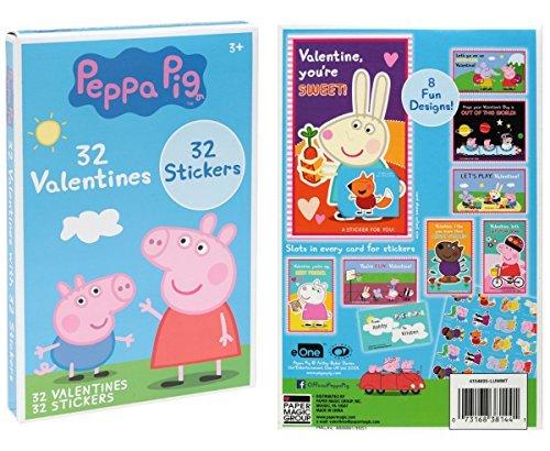 Peppa Pig tarjetas de San Valentín con 32pegatinas