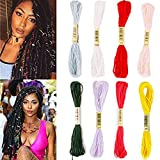 Creamily Embroidery Floss 8 Piece 8M Hair Strings for Box Braids Wire Wraps Hair Styling Accessories