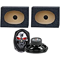 2) Boss SK694 6x9 700W 4 Way Car Speakers + 2) QTW6X9 Angled 6x9 Speaker Box