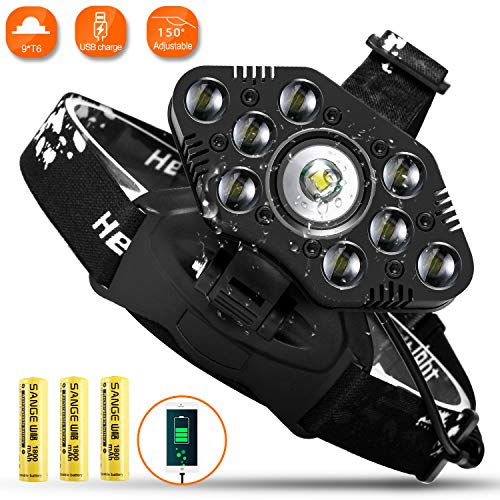 LED Headlamp, 3500 Lumen Adults Work Headlight, Zoomable Waterproof Rechargeable Headlamps Flashlight for Camping Hunting Hiking Fishing Biking. Batteries Included.